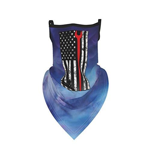 MATEH American Ironworker Neck Gaiter Balaclava Bandana Headwear for Dust Wind Sun Uv, Face Cover Scarf Ear Loop Filter Protection