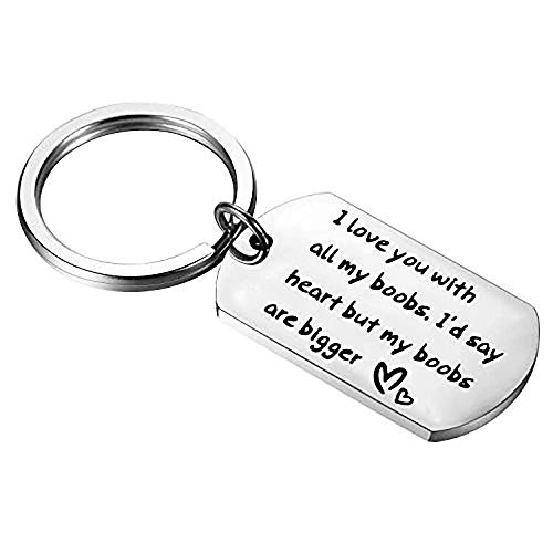 Funny Couple Keychains I Love You With All My Boobs Dog Tag Keychain Gift For Her Husband Gift Boyfriend Keychain (funnykeychain)