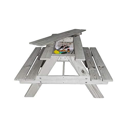 RM E-Commerce Mesa de picnic para niños con compartimento secreto, mesa de jardín de madera de conífera, gris, muebles de jardín para 4 niños, 90 x 85 x 46 cm