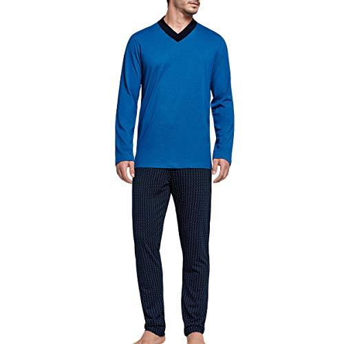 Impetus – Herren-Schlafanzug, lang, aus Baumwolle und Modal Isère Gr. XL, blau