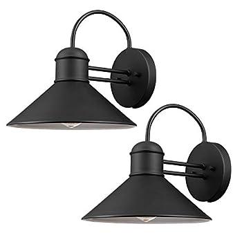 Globe Electric 44165 Sebastien 1-Light Outdoor Wall Sconce 2-Pack Black Finish
