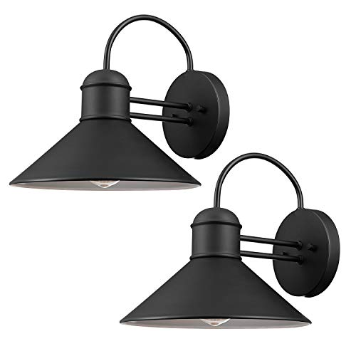 Globe Electric 44165 Sebastien 1-Light Outdoor Wall Sconce, 2-Pack, Black Finish