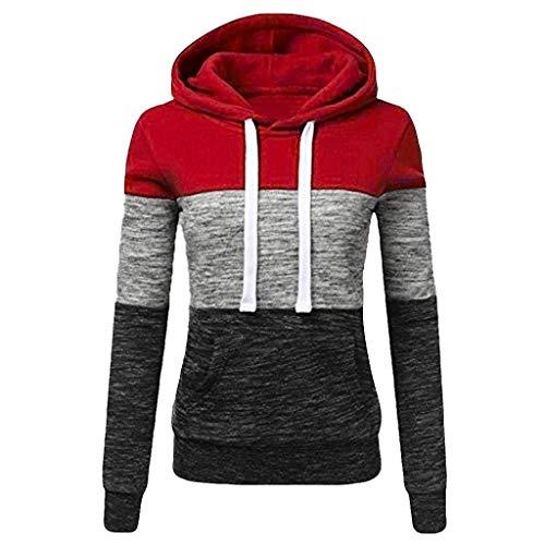 Sunggoko Sudadera con capucha para mujer con capucha, color de contraste, para otoño e invierno, ajustada, para deporte, manga larga, de algodón 01, 15-rojo, 5X-Large