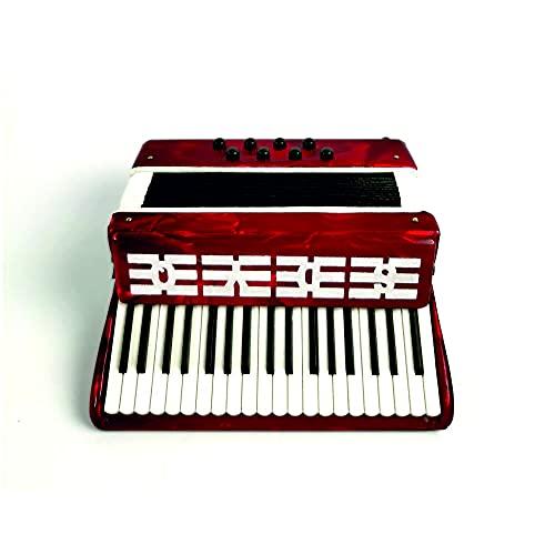 ALANO rotes Mini Akkordeon Modell mit Geschenkbox Mini Musik Ornament Dekoration Geschenk (KR-9)