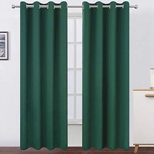 LEMOMO Dark Green Blackout Curtains/52 x 84 Inch Long/Set of 2 Curtain Panels/Thermal Insulated Room Darkening Curtains for Bedroom…