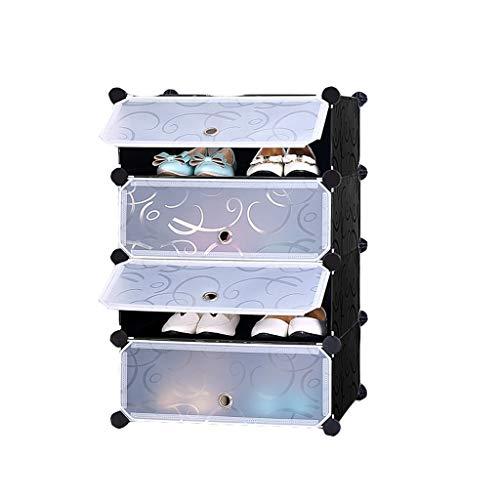 Shoe rack CWT Multi-capa para el hogar multifunción 2 capas, 3 capas, 4 capas, 5 capas simple mini puerta zapatero estante de almacenamiento (color: negro, tamaño: 4 capas)