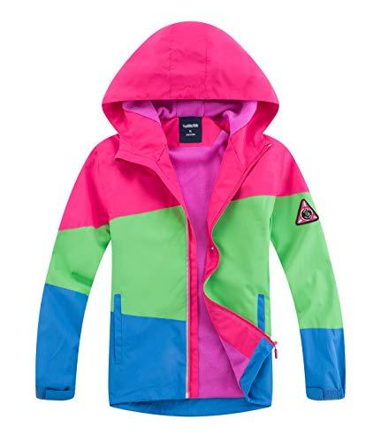 YoungSoul Kinder Gefütterte Regenjacke Mädchen Outdoorjacke Übergangsjacke wasserdichte Winddichte Jacke mit Farbblock Rosa 146-152/XXL