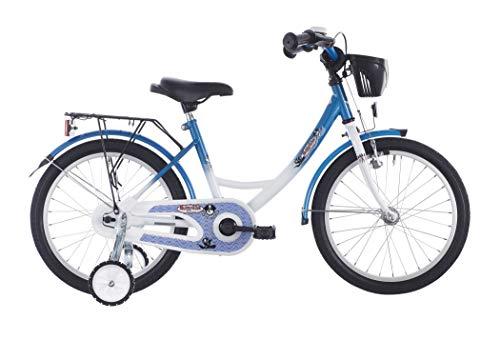 Vermont Kinder-Fahrrad Kapitän 18 Zoll | 1-Gang Kinder-Rad, Stützräder, Klingel und Fahrrad-Korb in Weiß-Blau