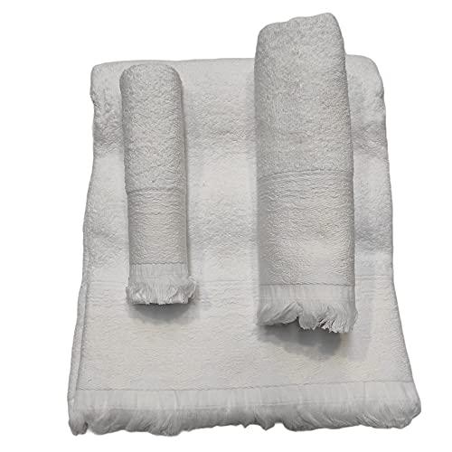 Toallas de baño en Blanco ,Set 3 Piezas Cenefa 100% algodón Portugués ,Gran absorción, 500g.