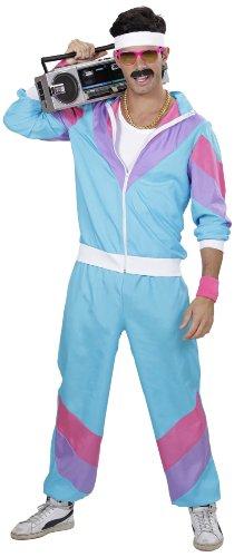 Widmann 98873, Tuta per travestimento anni '80, per Adulti, incl. giacca e pantaloni, Azzurro, Taglia L