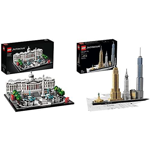Lego 21045 Architecture Trafalgar Square & 21028 Architecture New York City, Skyline-Kollektion mit Freiheisstatue, Bausteine für Kinder und Erwachsene, Basteln