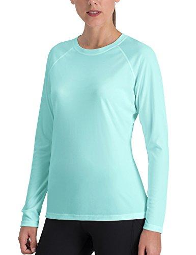 NAVISKIN Camiseta Deportiva para Mujer Protección UV UPF 50+ Manga Larga Cuello Redondo Elástica Térmica Casual Transpirable Verde L