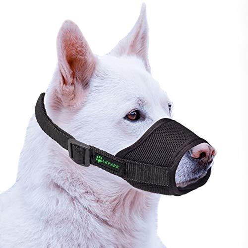 ILEPARK Hunde Maulkorb mit atmungsaktivem Netzbezug Verstellbare und weicher Hundemaulkorb zur Verhinderung von Beißen, Kauen und Bellen (XL,Schwarz)
