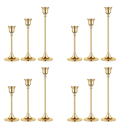 Candlestick Holders Taper Candle Holders, Brass Gold Candlestick Holder Set3 Pcs Candle Stick Holders kit Decorative Candlestick Stand for Wedding Party Dinning (Brass Gold (4pcs/Set))