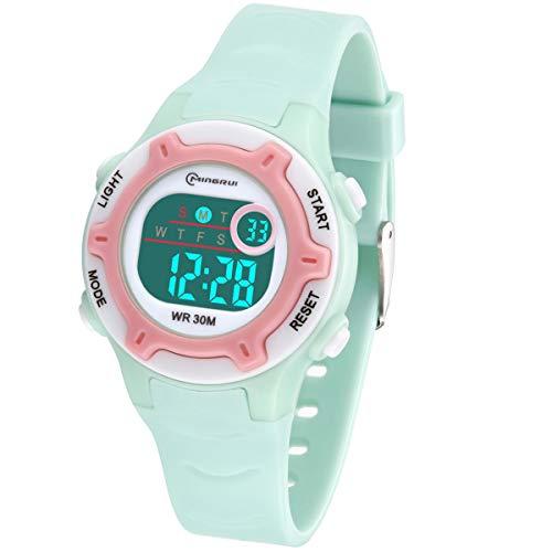 Kinder Digitaluhr, Funktionelle wasserdichte Jungenuhr Mädchen Uhr mit Zeit, Datum, Woche, Hintergrundbeleuchtung, Warnung, Stoppuhr Digital Uhr für Kinder Kinder Grün