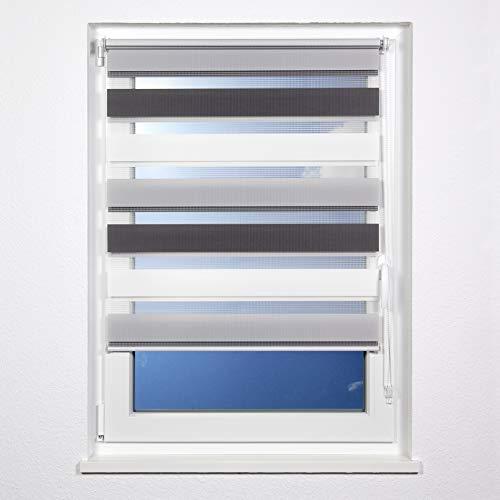 plimotion Doppelrollo ohne Bohren, mit Trägerschiene, 120x150 cm, Weiß-Grau-Anthrazit
