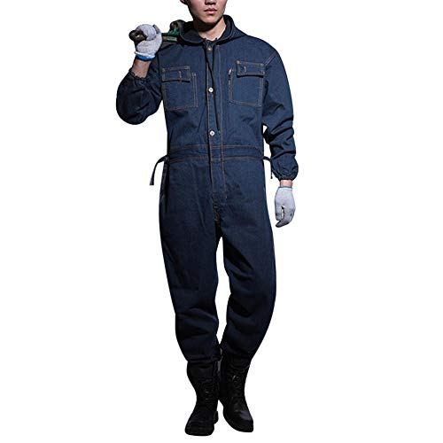 AOWOFS Herren Jeans Jumpsuit Lang mit Kapuze Arbeitsoverall Jeanshose Onesie Anzug Arbeitshose Overall