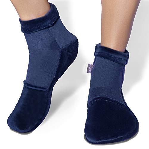 ICEHOF Bolsa gel frio para pies con 4 acumuladores de frío - Tejido suave (1 par) Calcetines de terapia de frío para pies gel quimioterapia reumatica - Calcetines de frío Chemo