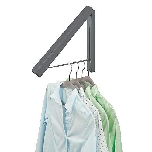 mDesign - Inklapbare kapstok - voor kledinghangers/voor het hangend laten drogen van kleding/kleine kledingrail - wandmodel/duurzaam/metaal - Antraciet