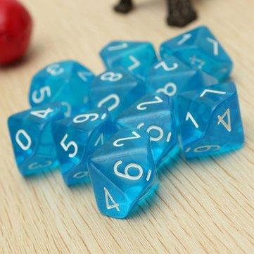 Generic 10-Pcs D10 Ten Sided Gem Dice Die for RPG Dungeons & Dragons Games Set
