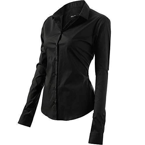 FLY HAWK Bluse Hemdbluse Damen Hemd Basic Kent-Kragen Elegant OL Work Slim Fit Langarm Stretch Formelle Hemden,Schwarz, Größe 44, Hersteller - 16