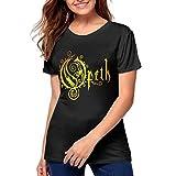 Opeth Logo Women's Stylish Cotton Short Sleeve Round Neck Shirts Black S