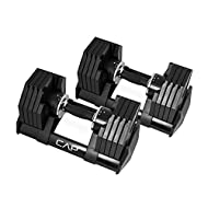CAP Barbell Adjustabell Dumbbell 50-Pound Pair, Bundle Available | Adjustable Dumbbells