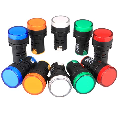 Gebildet 10 Stück 22mm Kontrollleuchte 220-230V LED Flush Panel Mount (Rot/Grün/Blau/Orange/Weiß, Jede Farbe 2 Stück)