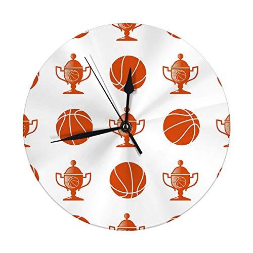 Mesllings Reloj de pared sin tictac, 24,8 cm, diseño de pelota de baloncesto y trofeo
