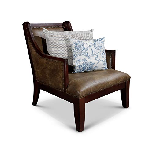 DTY Indoor Living Breckenridge Leather Accent Chair, Rustic Brown
