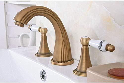 Grifos de fregadero Grifería de latón antiguo retro Montado en la manija doble Baño extendido Baño de 3 agujeros Grifo de lavabo Grifos de agua