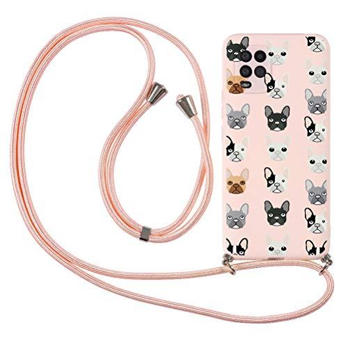 KAPUCTW Capa compatível com Xiaomi Mi CC9 com alça transversal, TPU macio com cordão de nylon ajustável, cordões de telefone com design 3D para Xiaomi Mi CC9 6,2 polegadas, cabeça de cachorro