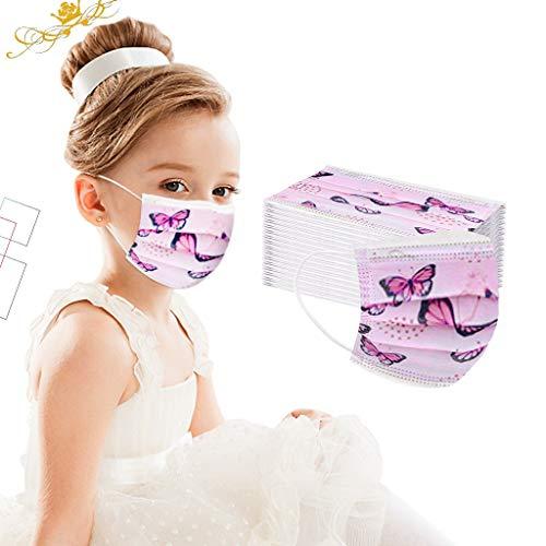 SALUCIA Kinder Einmal-Mundschutz, Staubs-chutz Atmungsaktive Niedlich Druck Mundbedeckung, Erwachsene, Bandana Face-Mouth Cover Sommerschal Face Cover (A, 50 Stück)