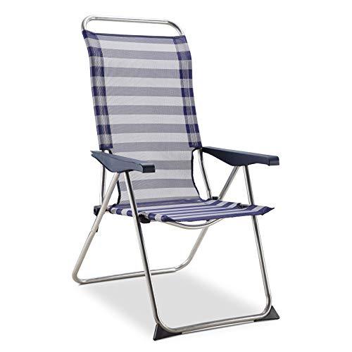 Solenny 50001072725182 50001072725182-Silla de Playa 5 Posiciones Respaldo Anatómico Azul y Blanco