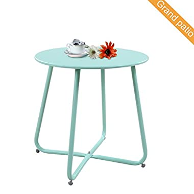 Grand patio Steel Patio Coffee Table, Weather Resistant Outdoor Side Table, Small Round End Tables, Macaron Blue