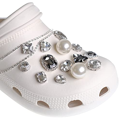 Shoe Decoration Charms, Shoe Buckles, Shoe Accessories, Faux Crystal Pearl Rhinestones DIY Decorative Shoe Buckles, Fashion Accessories for Hole Shoes, Slippers, Sandals, Girls and Women Favorite Accessories Gift, 31 Pieces