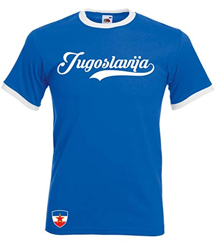 Aprom Jugoslawien Ringer Retro TS WM EM Soccer T-Shirt Trikot Look Yug (S)