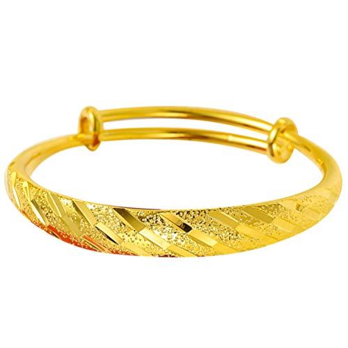 Holibanna Gold Armreifen Erweiterbare Armreif Armband Chinesische Traditionelle Armbänder Schmuck Geschenk für Braut Frauen Mädchen (10N Meteorschauer Stil)