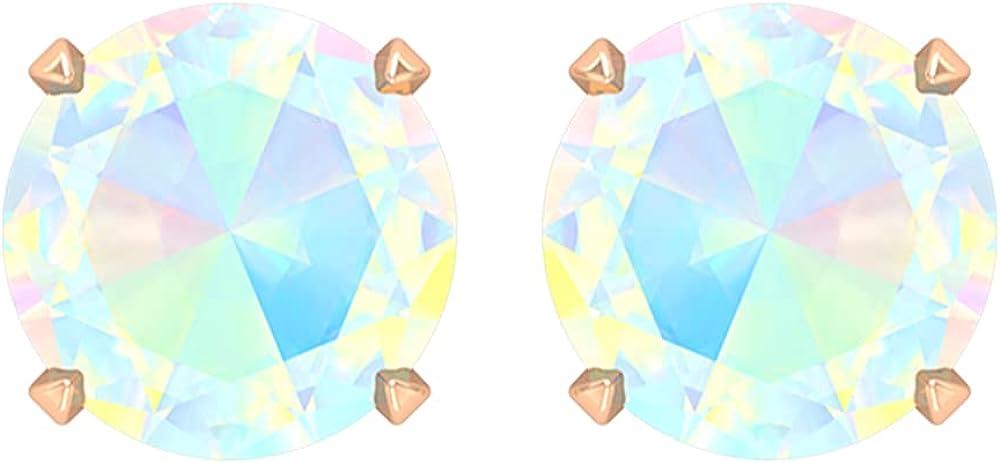 6X6 MM Round Shape Ethopian Opal Solitaire Stud Earring,14K Rose Gold,Ethopian Opal