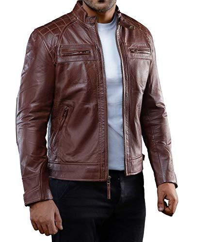 fjackets Brown Leather Jacket Men for Bikers - Distressed Lambskin Black Leather Jacket for Men | [1100086], Johnson Brown 2XL