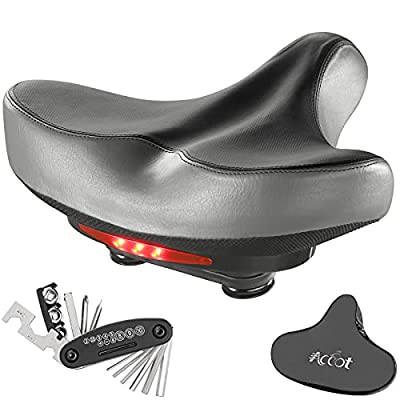 ACCOT Wide Bike Saddle Waterproof Bicycle Seat Padded Saddle with Soft Cushion Univesal Fit Comfy Bike Seat with Taillight