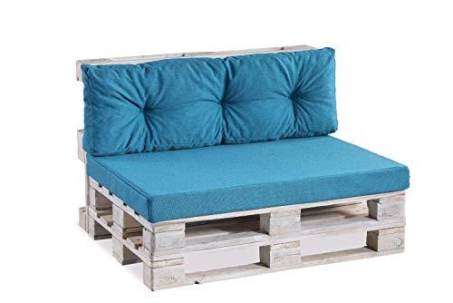 Coussins pour palettes, siège Lisse, Appui matelassé, Mousse PPF (Appui 120x40 matelassé, Bleu)