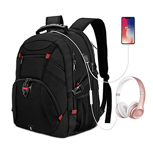 Extra Large Travel 18.4 Inch Laptop Backpack Water Resistant Business Gaming Computer Backpack with USB Charging Port Earphone Hole College School Bookbag
