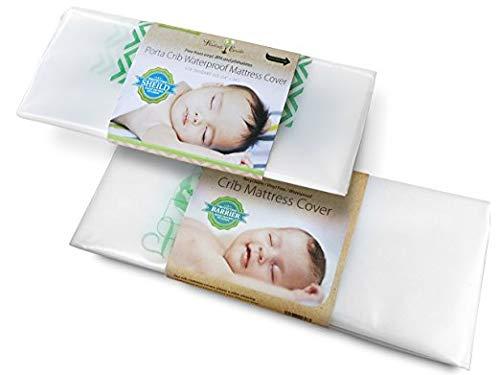 Harlow's Earth Safe Sleep Bundle- 1 Standard Size & 1 Pack n Play Size Crib Mattress Cover- Waterproof- Toxic Gas Shield