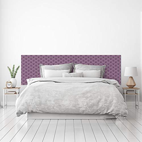 MEGADECOR Cabecero Cama PVC Decorativo Económico Diseño Japonés, Circulos Suaves Varias Medidas (150 cm x 60 cm)