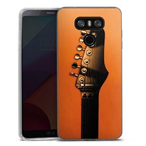 DeinDesign Slim Case extra dünn kompatibel mit LG G6 Silikon Handyhülle transparent Hülle Musik orange Gitarre