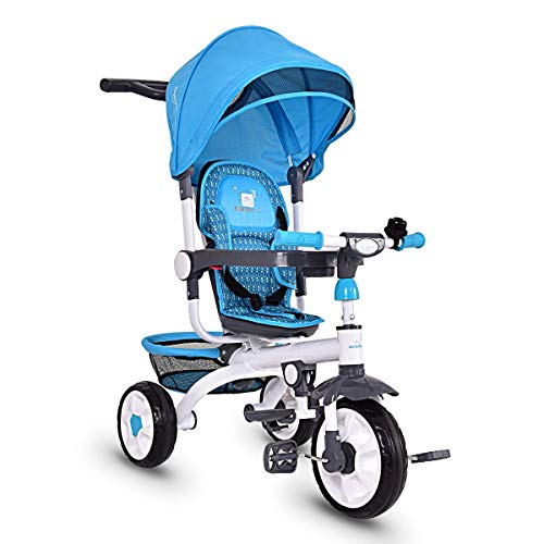 GLACER Kids Tricycle Stroller, 4 in 1 Baby Tricycle Learning Bike with Push Handle, Canopy, Safety Seat, Storage Basket, Foot Pedals, Toddler Tricycle Steer Stroller for Boys and Girls (Blue)