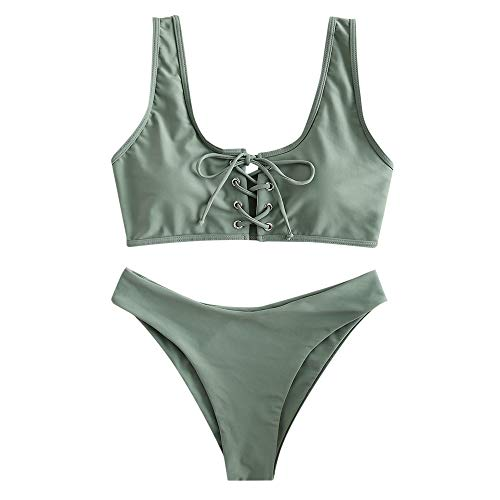 ZAFUL Damen Schnürung Sport Bikini mit U-Ausschnitt Sommer Beachwear Badeanzug Swimwear(Tarnung Grün M)