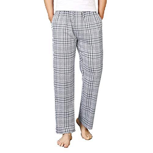 Men's Plaid Stripe Sleep Bottom Fall Winter Cotton Drawstring Jersey Jogging Lounge Trouser Leggings Pj Pajamas Pant (Light Grey, Large)