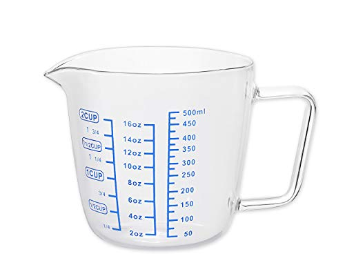 SCSpecial - Jarra medidora (cristal, 500 ml, 2 tazas)